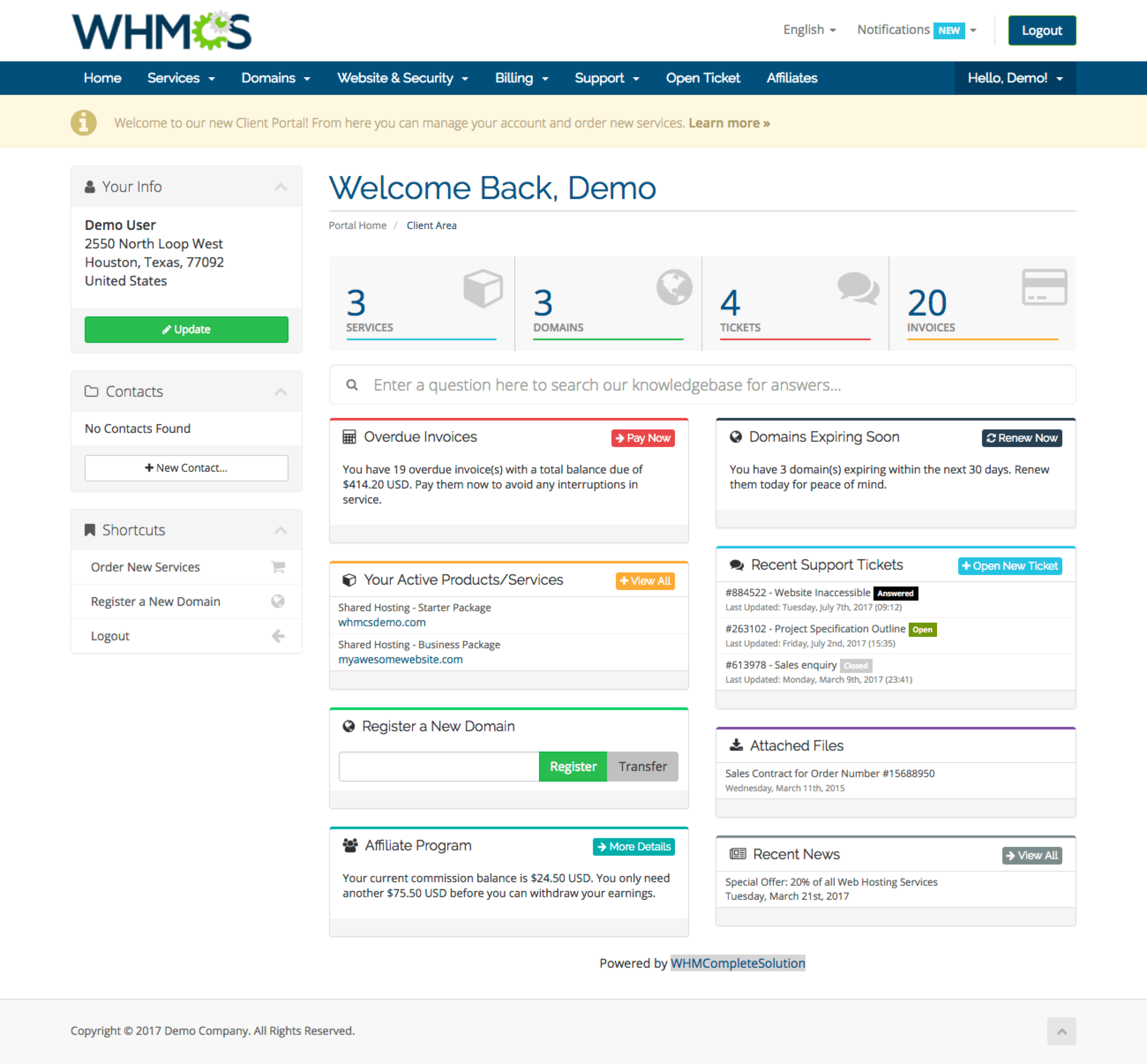 Overview | Feature Tour | WHMCS