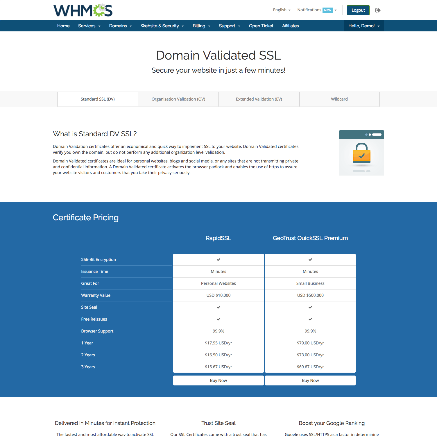 Ssl automation with symantec whmcs landing pages domain validated ssl 1betcityfo Image collections